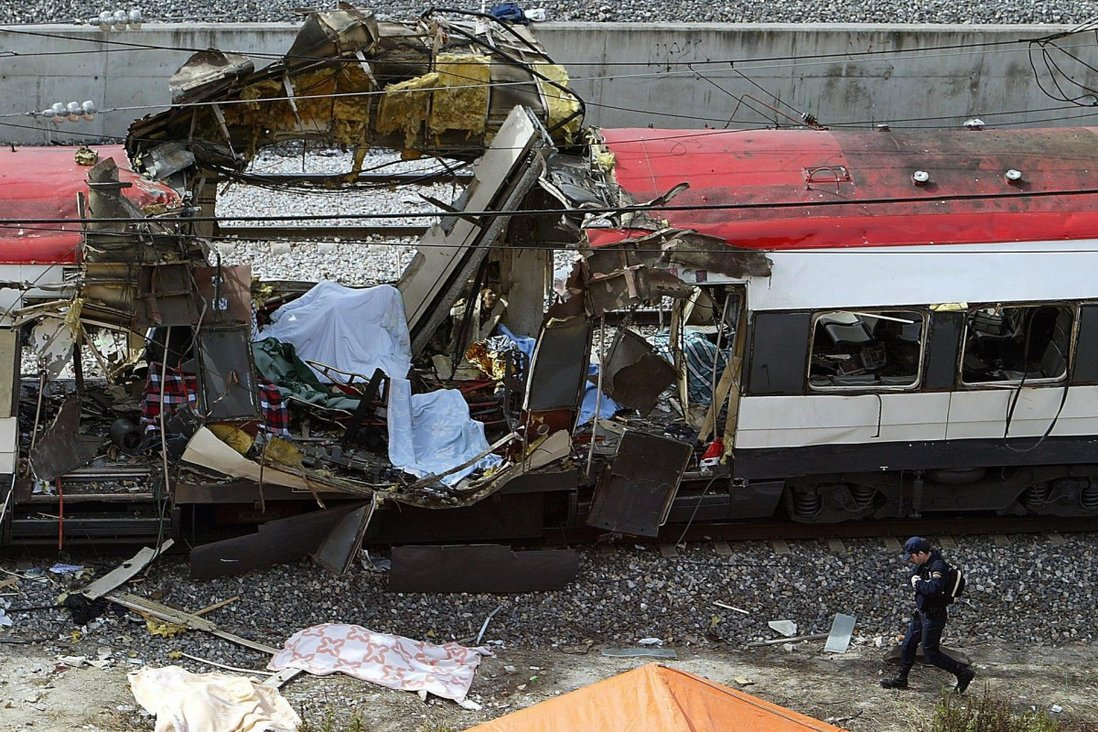 A shattered carriage on one of the trains which exploded at the Atocha train station in Madrid, where four near-simultaneous explosions on trains occurred. Photo: AFP