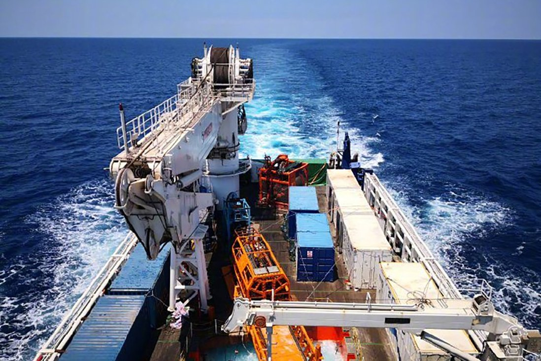 Scientists on a marine research vessel conducted deep-sea drilling in the South China Sea on Wednesday. Photo: Xinhua