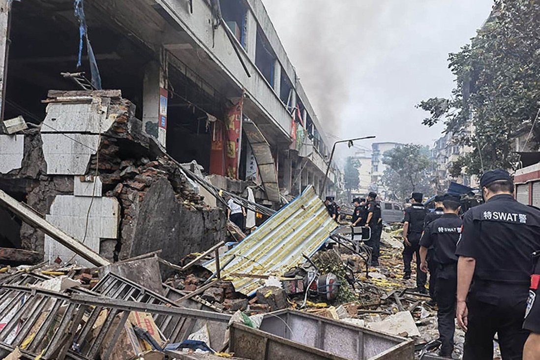 Police inspect the site of the explosion in Shiyan city. Photo: Handout