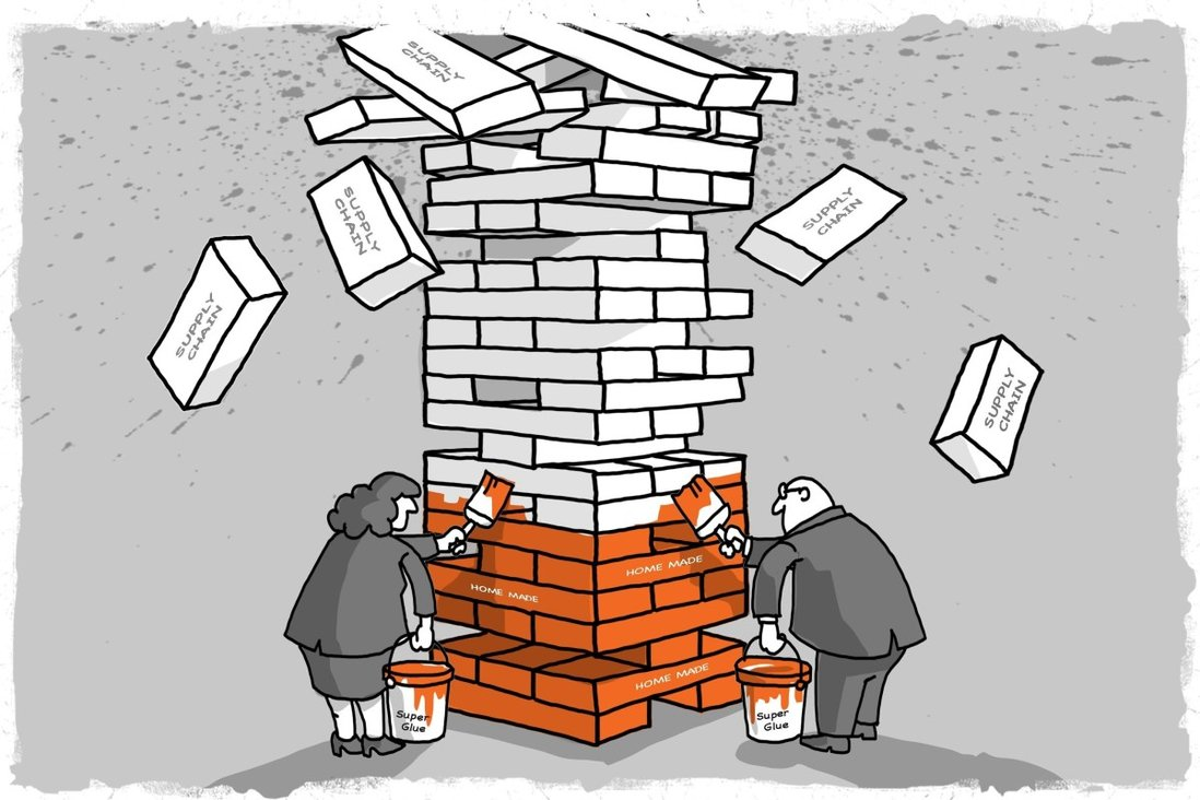 Ongoing decentralisation of manufacturing bases from China to other countries may accelerate, but China's role in the global supply chain is too big to be replaced, say analysts. Illustration: SCMP