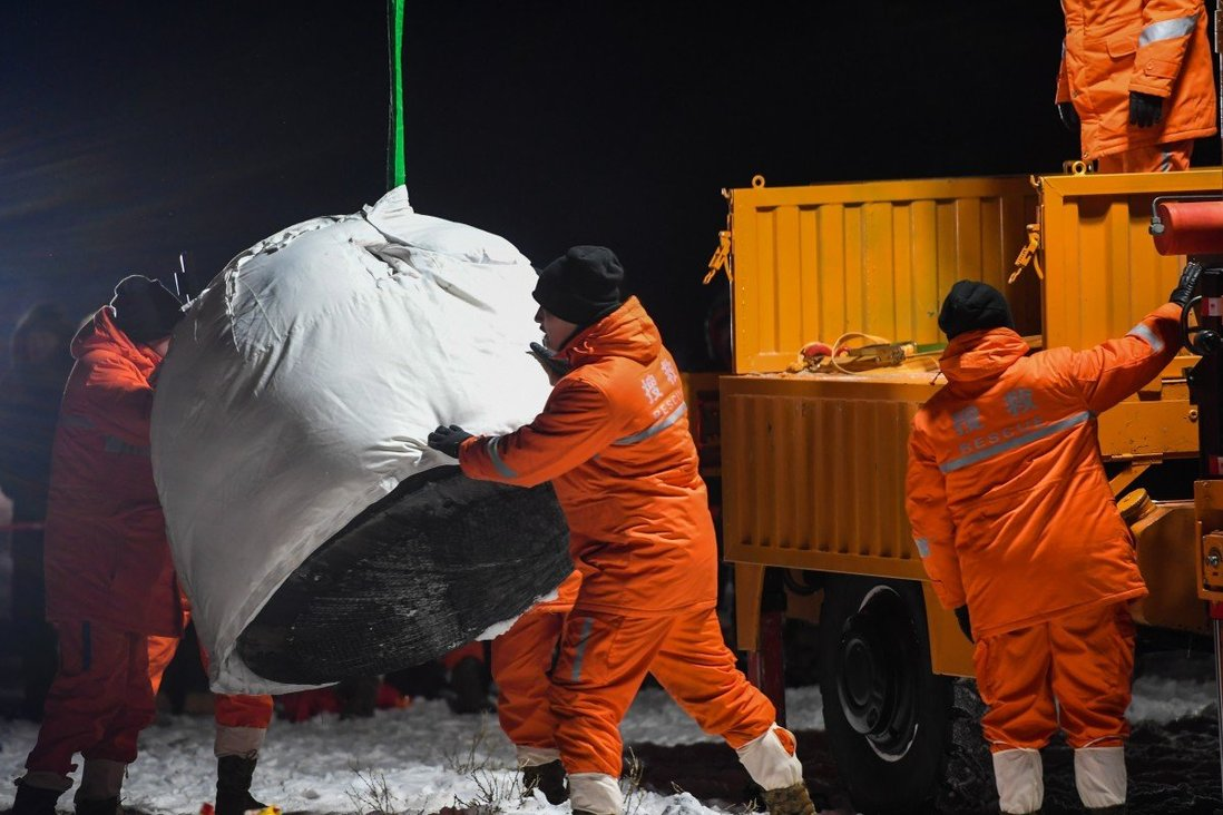 The Chang'e 5 re-entry capsule landed back on Earth on Thursday morning. Photo: Xinhua