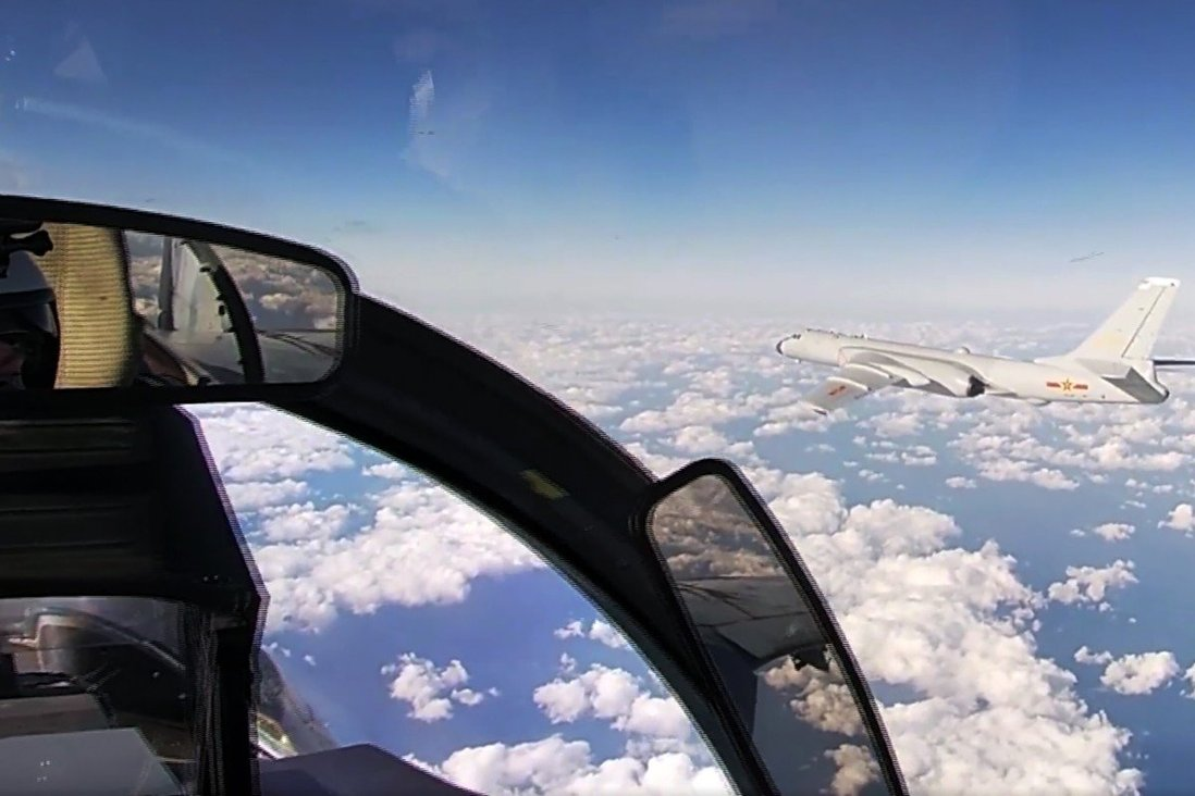 A Chinese H-6K strategic bomber, viewed from a Russian jet during Tuesday's joint patrol. Photo: AP
