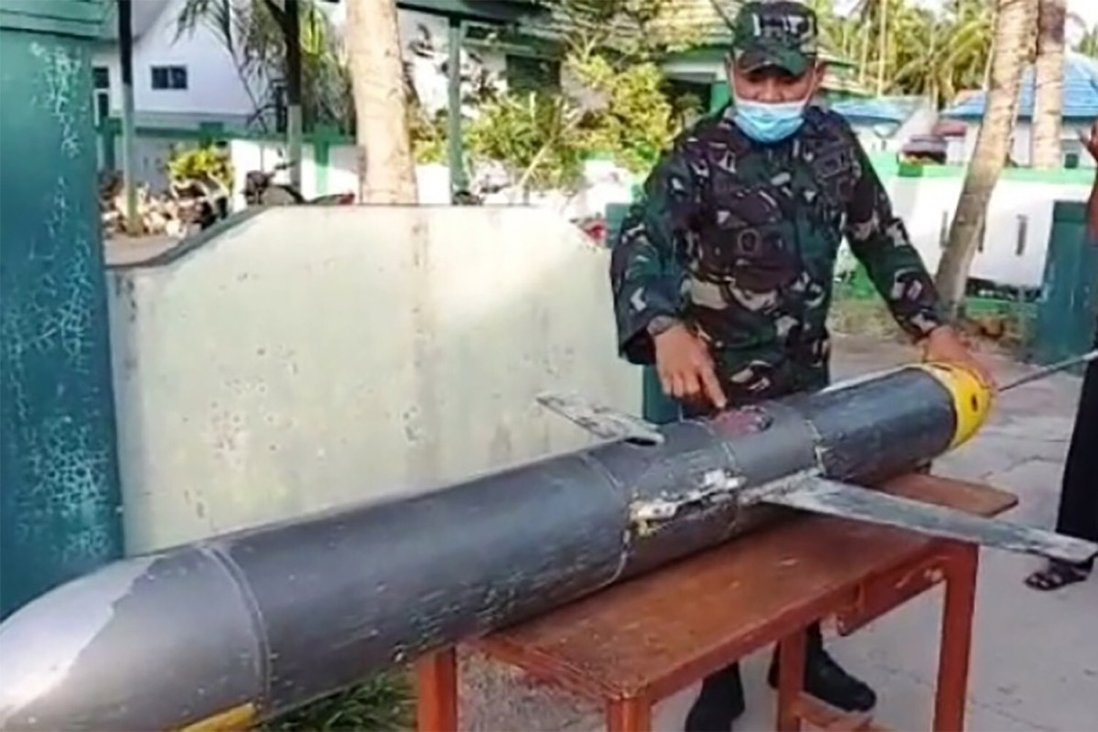 The autonomous underwater vehicle found in the waters off South Sulawesi. Photo: Twitter