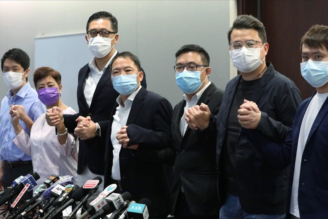 Democratic Party members (from left) Ted Hui Chi-fung, Helena Wong Pik-wan, Lam Cheuk-ting, Wu Chi-wai, James To Kun-sun, Andrew Wan Siu-kin and Kwong Chun-yu in August 2020. Photo: May Tse