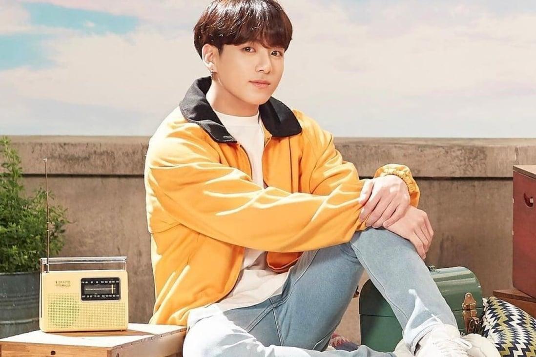 Jungkook de la BTS, a cărui achiziție este urmărită și copiată online de către fanii fideli ai trupei de băieți K-pop.  Foto: @ bts.bighitofficial / Instagram