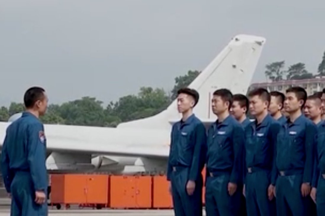 Some of the personnel taking part in the PLA Southern Theatre Command's bomber exercises in the South China Sea after the Lunar New Year. Photo: CCTV