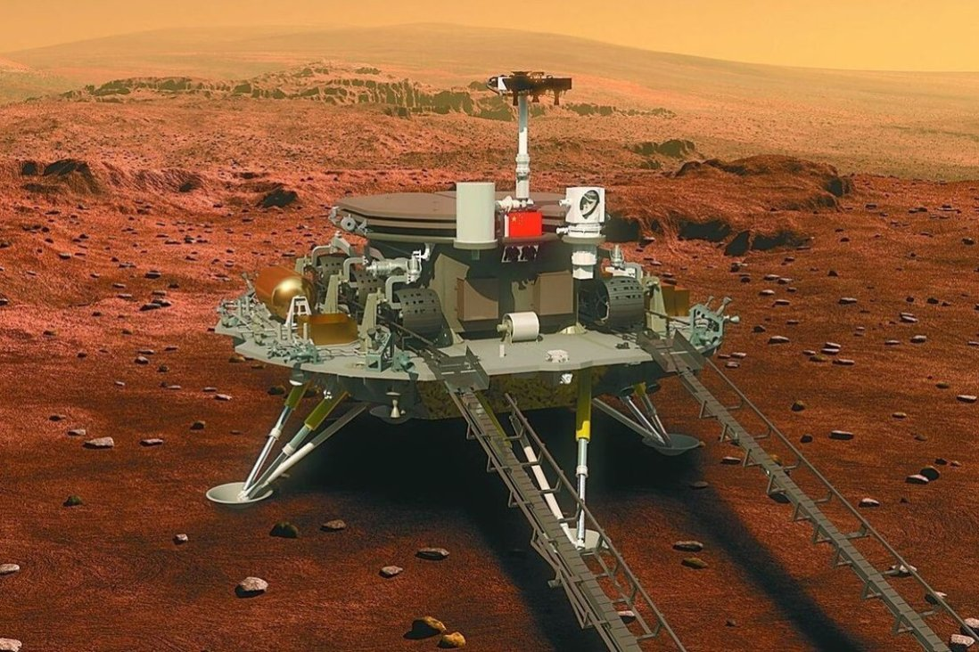Zhu Rong faz parte da primeira sonda de Marte da China, Tianwen-1, que foi lançada em julho de 2020. A sonda chegou a Marte e começou a orbitar em fevereiro.  Foto: Weibo