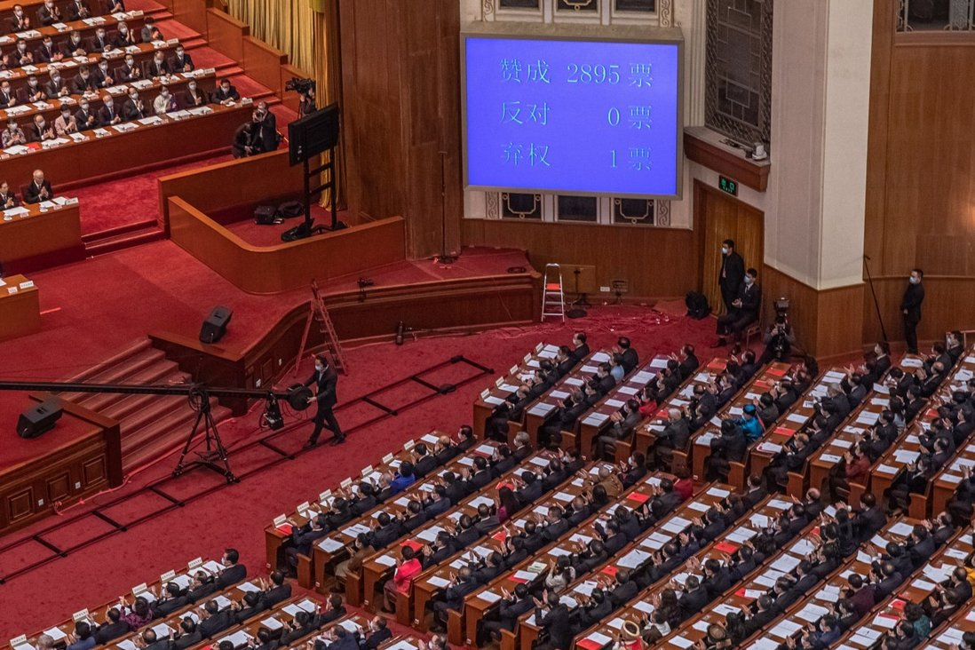 Beijing's top legislature the National People's Congress approved the resolution for major political surgery of Hong Kong on March 11. Photo: EPA-EFE