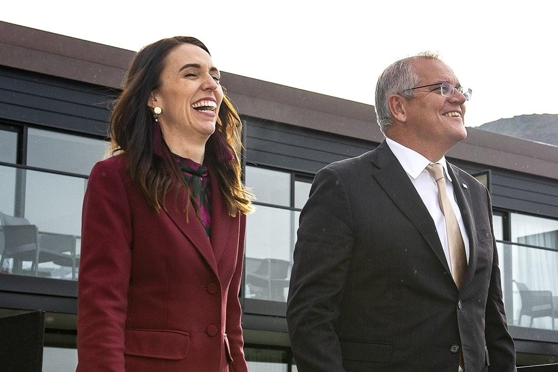 Australian PM Scott Morrison and New Zealand PM Jacinda Ardern in Queenstown. Photo: AAP