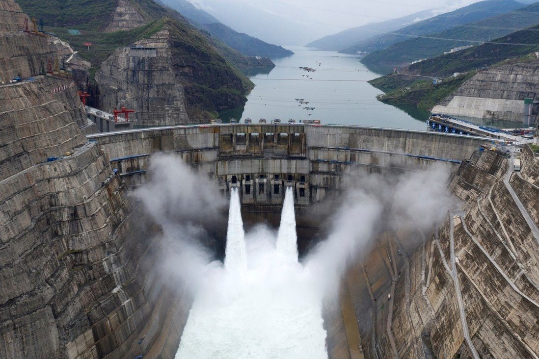 The Baihetan hydropower plant in operation on Monday. Photo: Reuters