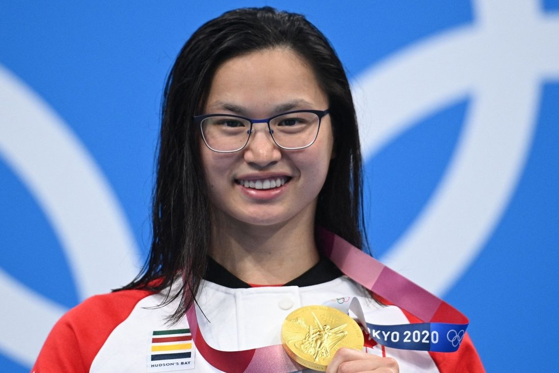 Tokyo Olympics gold medallist Margaret MacNeil, of Canada, after winning the women's 100m butterfly at the Tokyo Aquatics Centre in Japan. Photo: AFP