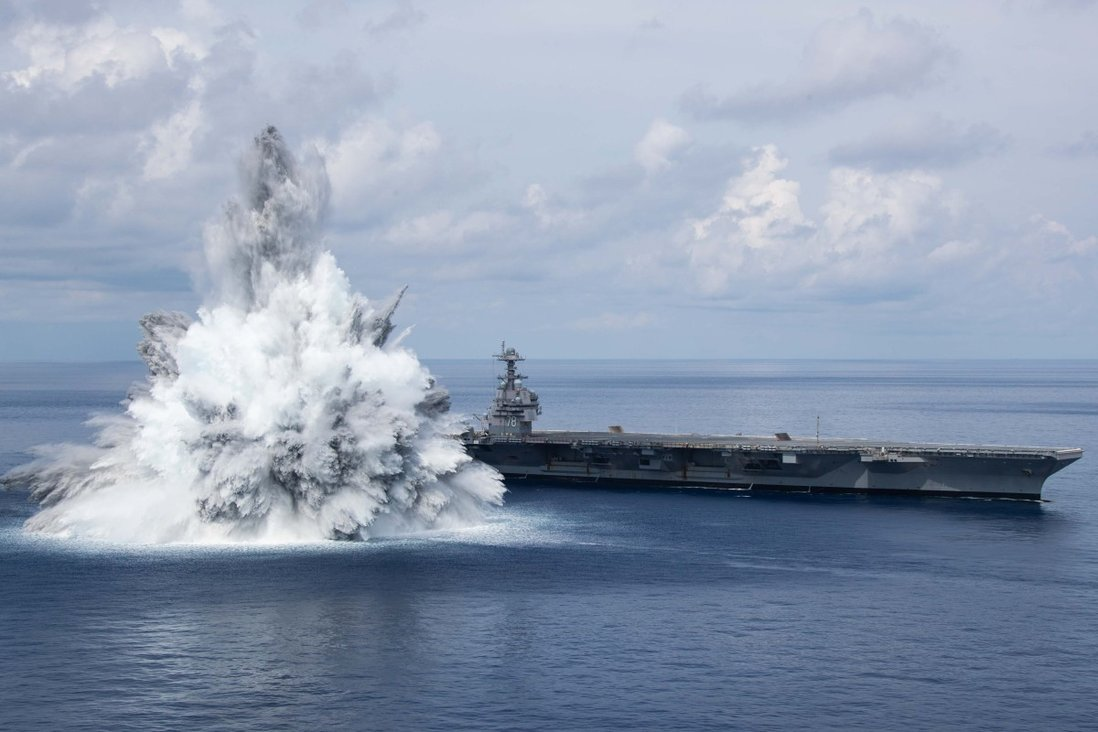 The USS Gerald R. Ford withstands a planned explosion during shock trials. Photo: Twitter