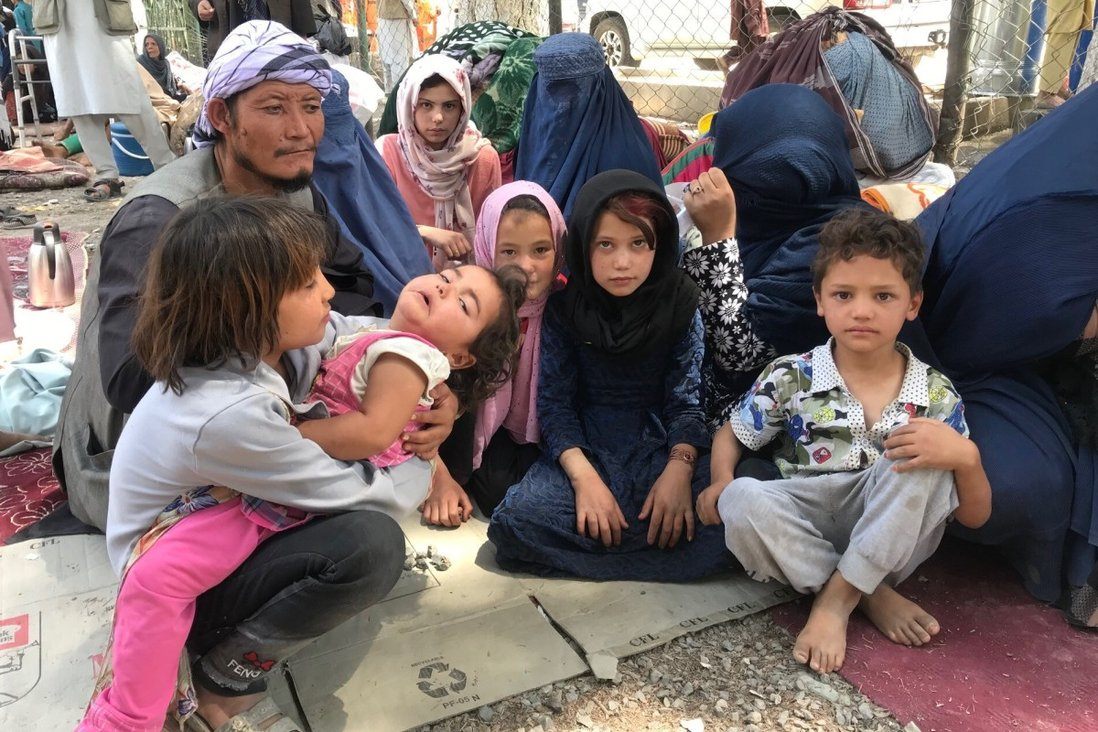 Internally displaced people in a camp in Kabul after they fled fighting in other parts of Afghanistan. Many ethnic minorities are fearful of what the Taliban rule will mean for them. Photo: Sonia Sarkar