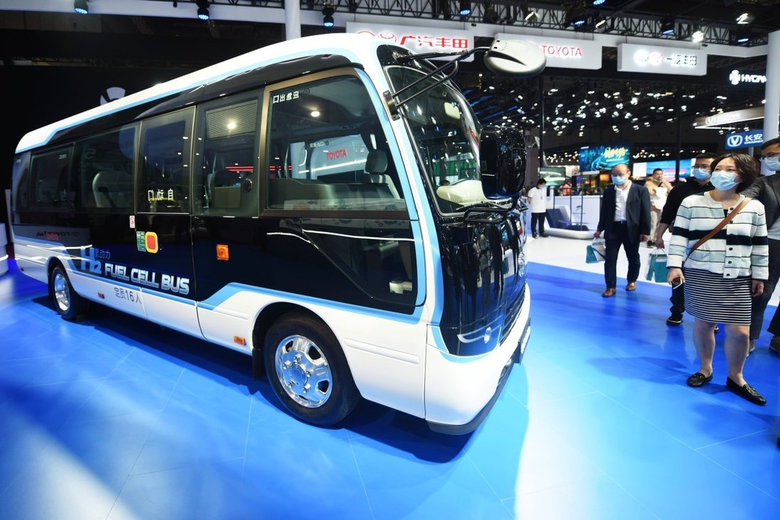 A hydrogen fuel-cell bus is on display at Auto Shanghai 2021. Photo: VCG via Getty Images