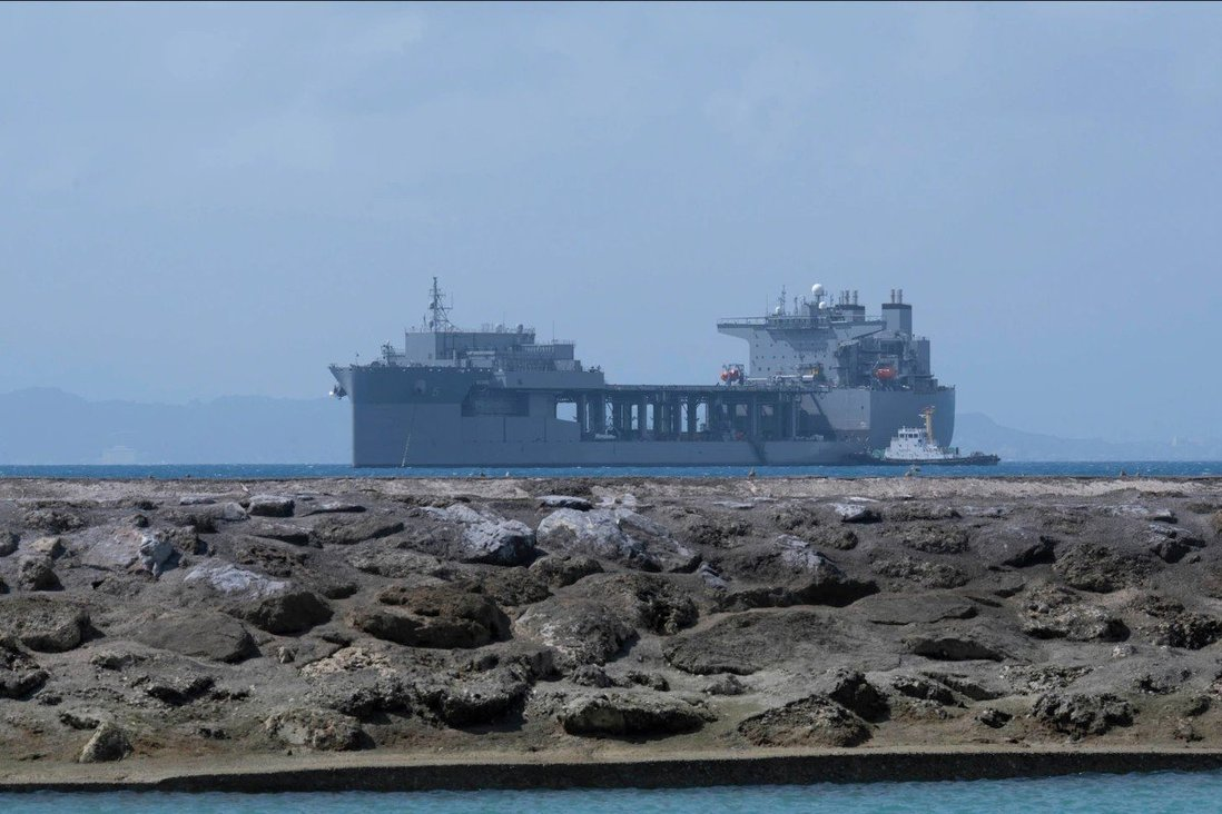 The USS Miguel Keith sits at anchor off a US base in Okinawa. Photo: Handout
