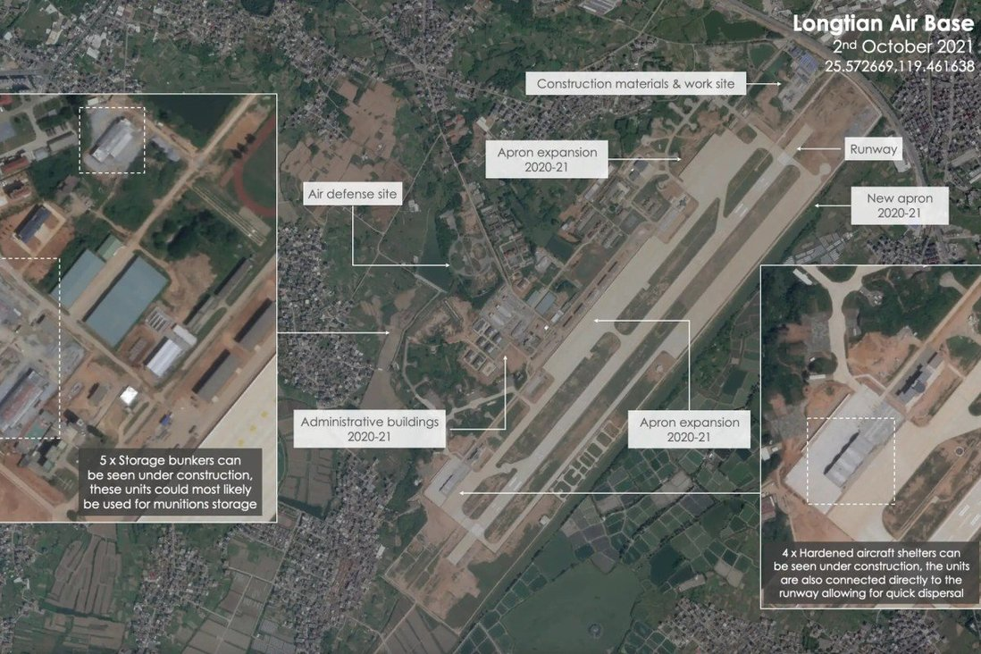 Air defence sites, runways, aprons and bunkers have been expanded and upgraded at the Chinese military's Longtian airbase in Fujian province. Source: Planet Labs
