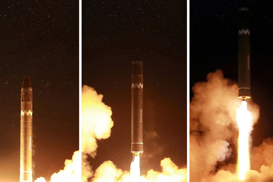 North Korea launches its Hwasong-15 missile, which it claims is capable of reaching all parts of the US. Photo: AFP
