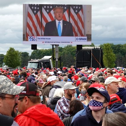 Supporters wait in line to enter a rally held by US President Donald Trump in Freeland, Michigan, the US. The Rolling Stones and Neil Young have reacted angrily to their songs being played at his campaign rallies. Photo: Getty Images
