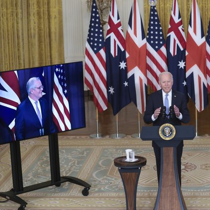 US President Joe Biden speaks at the White House about the new security alliance with Australia and Britain. Joining virtually were Australian leader Scott Morrison (left) and British Prime Minister Boris Johnson. Photo: EPA-EFE