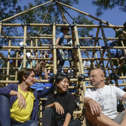 Rachel Wilson (left), Jenna Ho Marris (middle) and model maker Andy Niven at the Bamboo Biodiversity Jungle Gym in Tai Tam. Photo: Antony Dickson